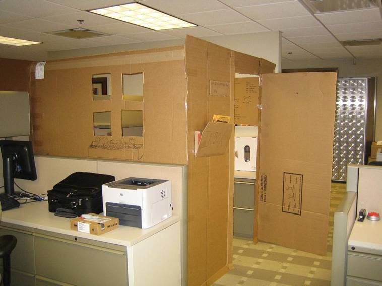 office prank - cardboard boxes